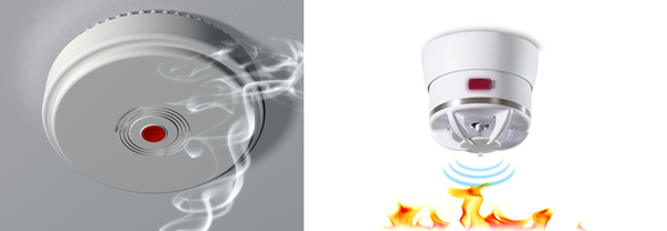 (出所) 左写真:http://www.securitysearch.co.nz/alarm-systems/which-smoke-alarm-to-install/ 右写真:https://www.cavius.co.nz/
